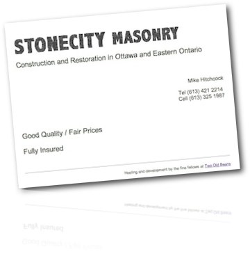 StoneCity Masonry Business Card Site